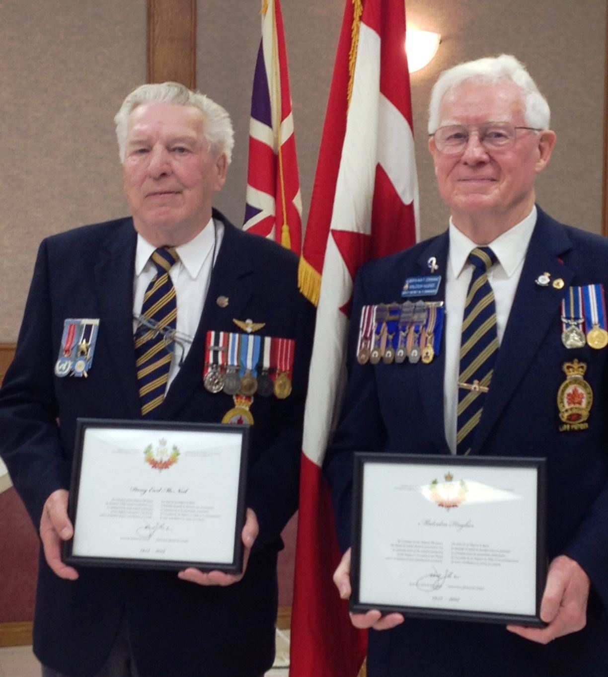 Doug McNeil and Malcolm Hughes receive Diamond Jubilee Medals
